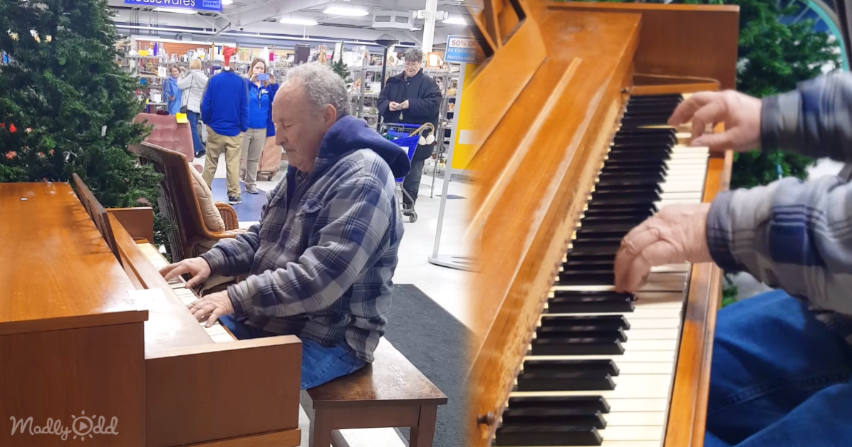 man plays piano at Goodwill during Christmas