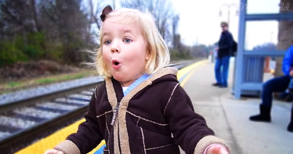 Excited Girl Sees Train