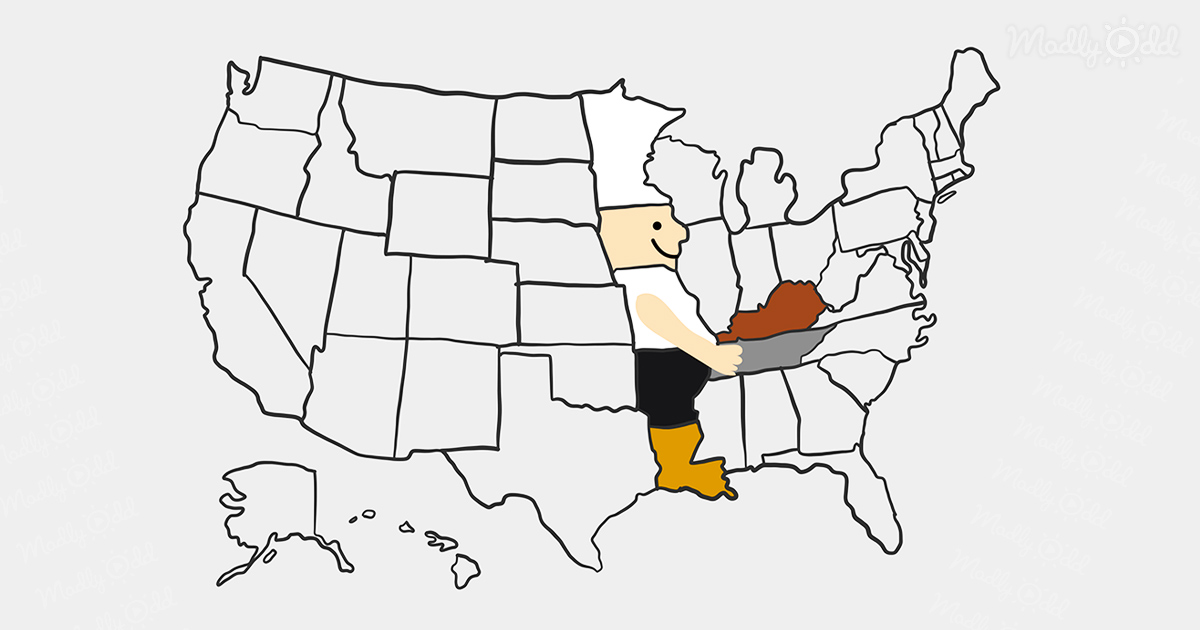 Mimal the chef carrying fried chicken hidden on the USA map