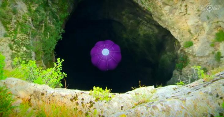 Hot air balloon deep into a cave